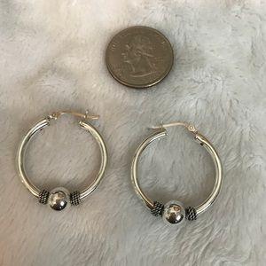 Sterling silver hoop earrings - EUC